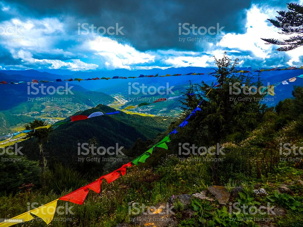 Prayer Flags on top of the mountain royalty-free stock photo