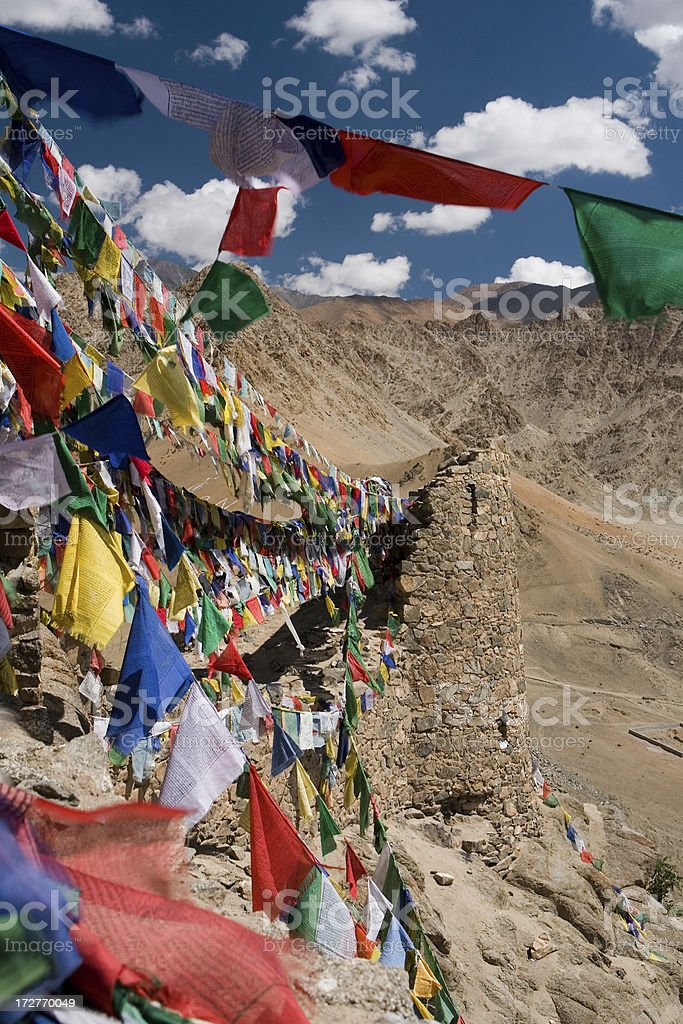 Prayer Flags on Tsemo Gompa, Small Tibet royalty-free stock photo