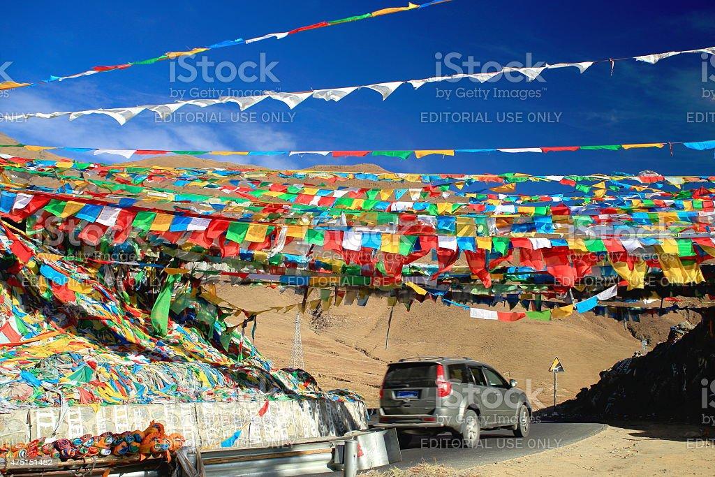 Prayer flags over Nachan La-Pass. Lhasa pref.-Tibet. 1451 stock photo