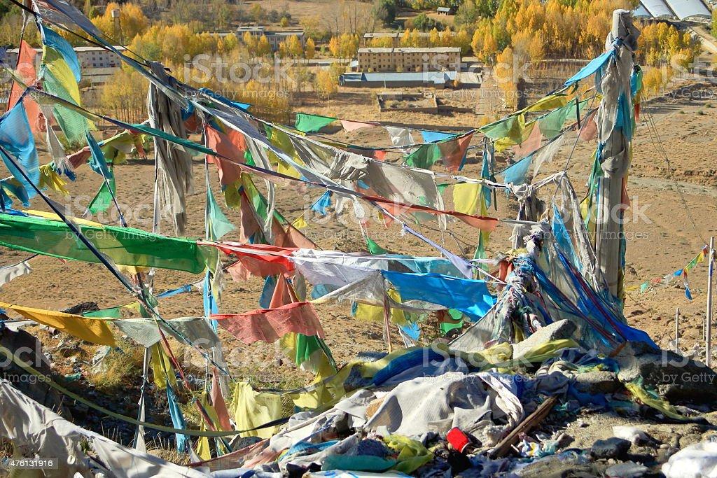 Prayer flags over Nachan La-Pass. Lhasa pref.-Tibet. stock photo