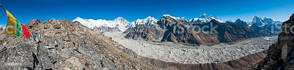 Prayer flags peaks pinnacles panorama Everest summit vista Himalayas Nepal stock photo