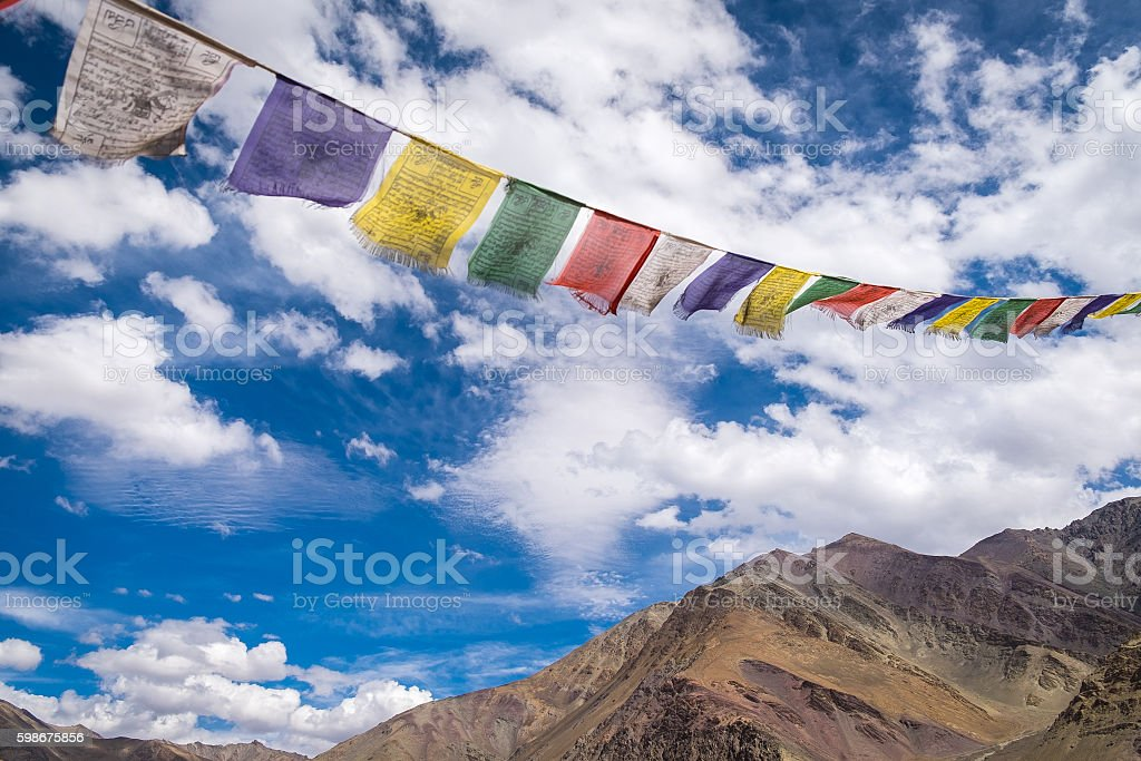 prayer flags the holy traditional flag with blue sky stock photo