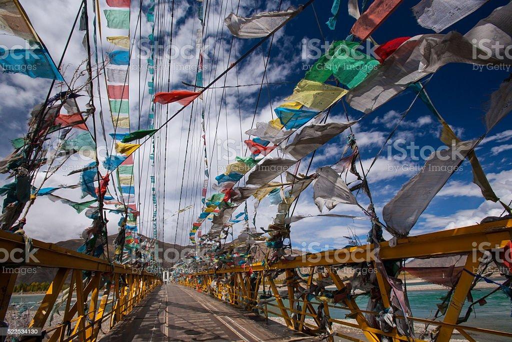 Prayer Flags - Tibet - China stock photo