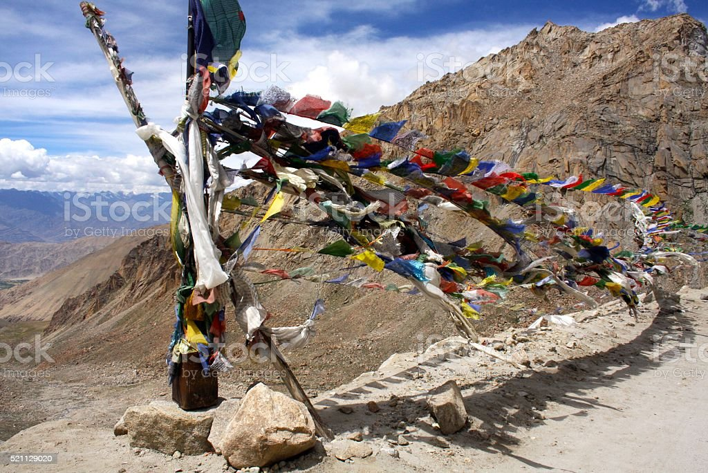 Prayer Flags tied to a Pole stock photo