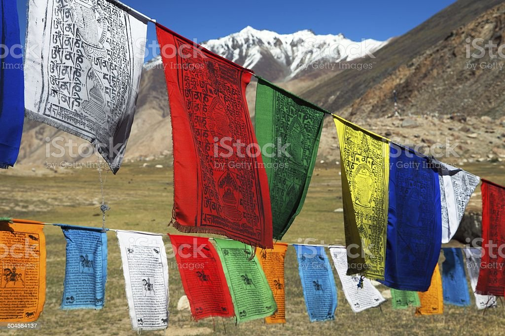Prayer flags with stupas - Himachal Pradesh - India stock photo