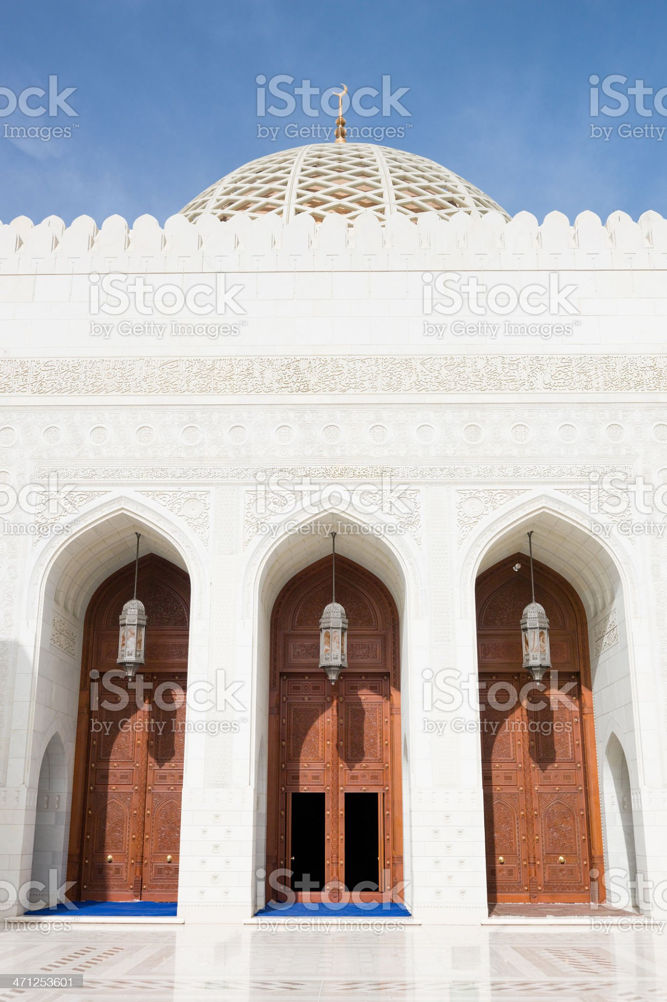 Prayer Hall Entrance Sultan Qaboos Grand Mosque Muscat Oman royalty-free stock photo
