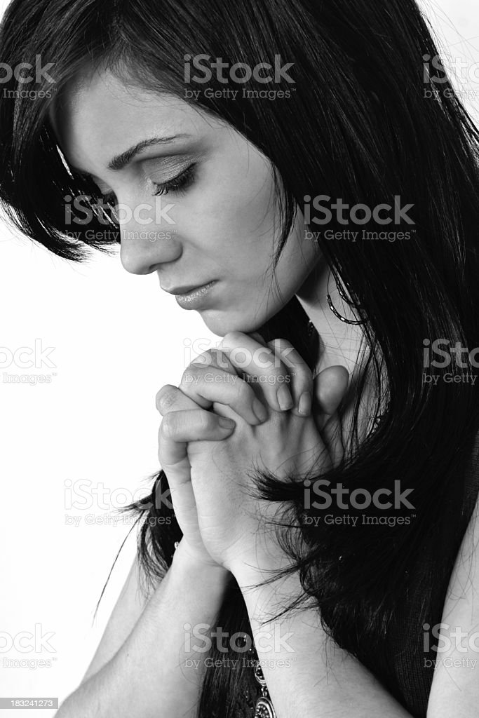Prayer in black and white royalty-free stock photo