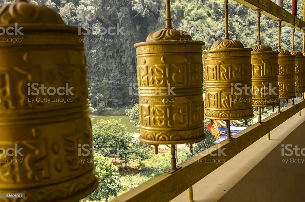Prayer Mills in Tambun Tibetian Buddhist Temple, Perak stock photo