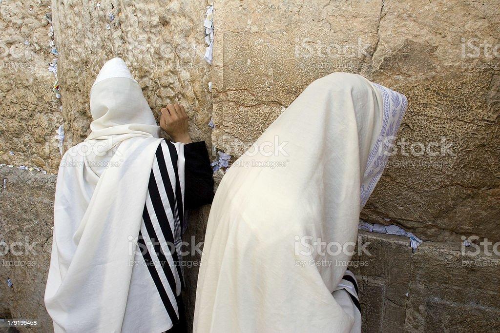 Prayer of Jews in western wall. stock photo