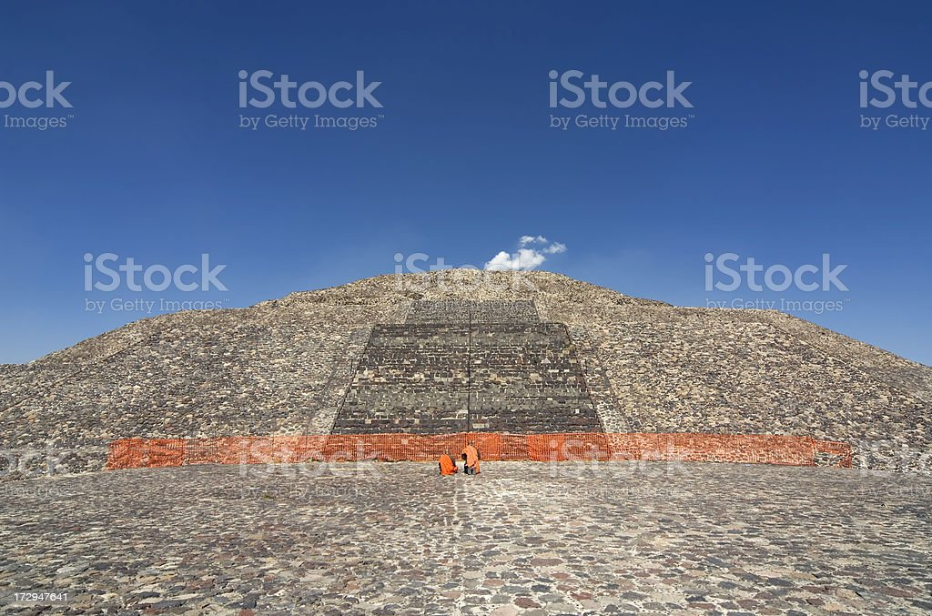 Prayer on Pyramid of the Moon in Teotihuacan Mexico royalty-free stock photo
