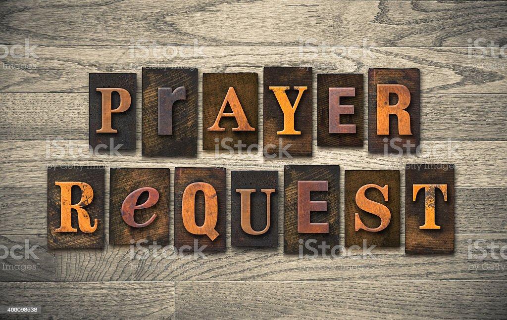 Prayer Request Wooden Letterpress Concept stock photo