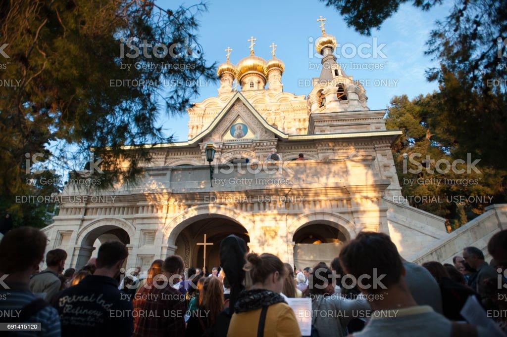 Prayer service at Russian Orthodox Church of Mary Magdalene, Jerusalem stock photo