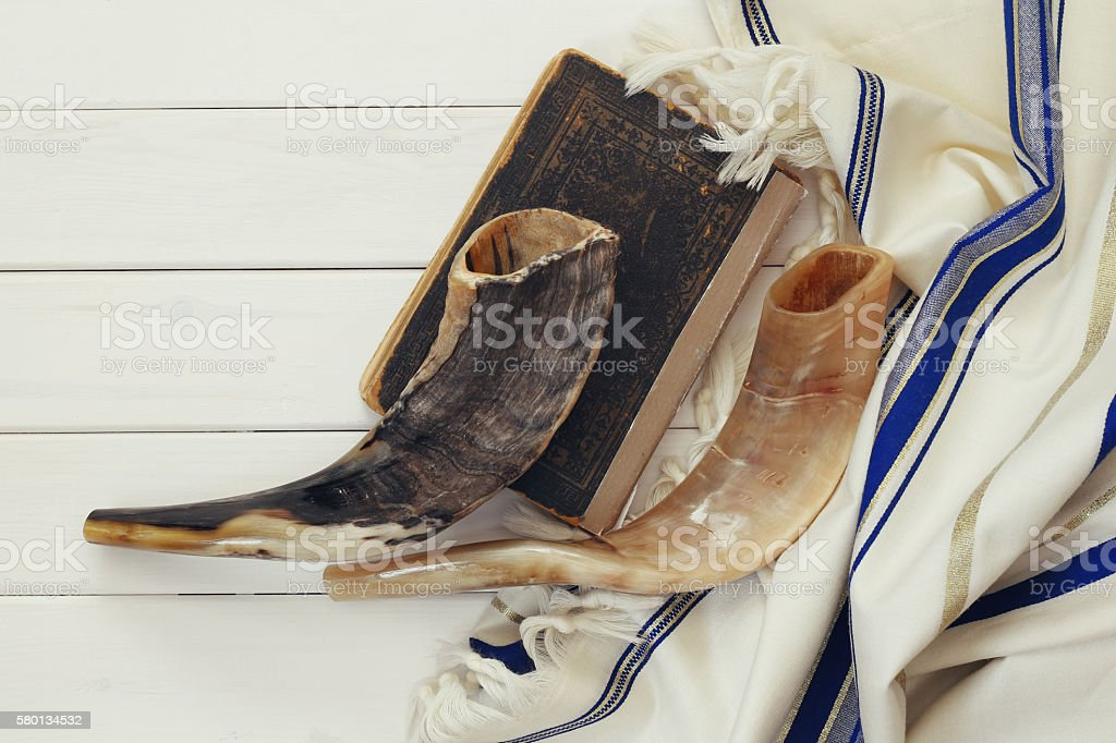 Prayer Shawl - Tallit and Shofar (horn) jewish religious symbol stock photo