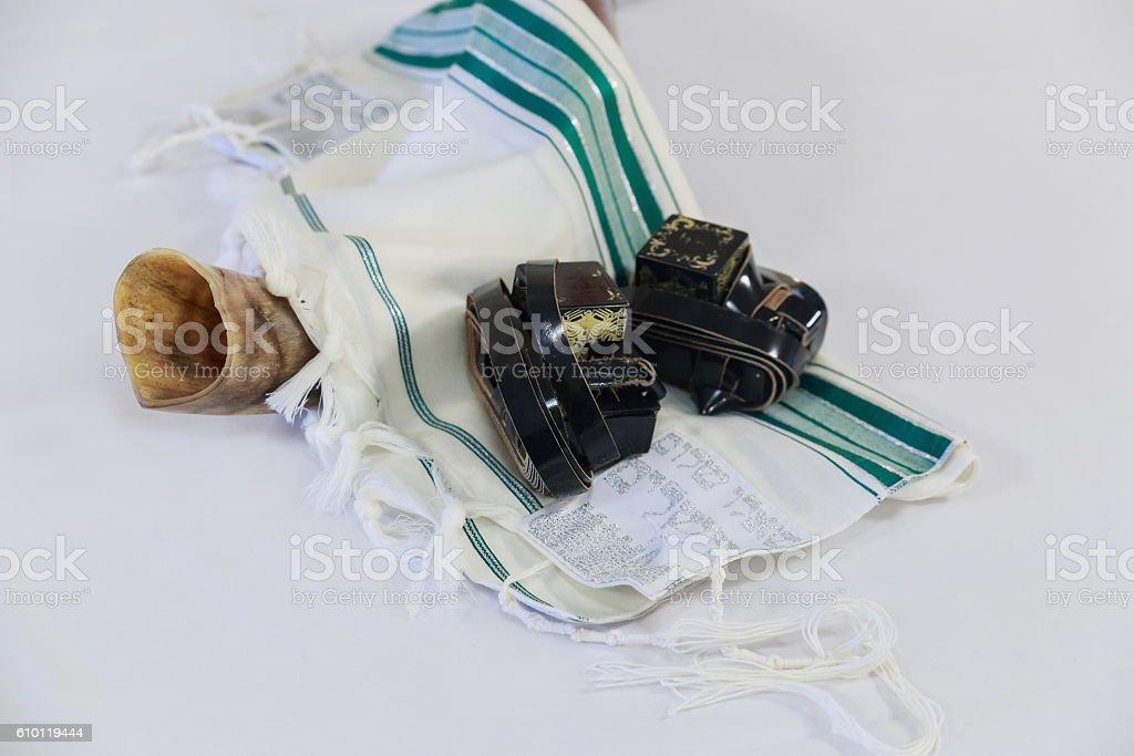 Prayer Shawl - Tallit and Shofar jewish religious symbol stock photo