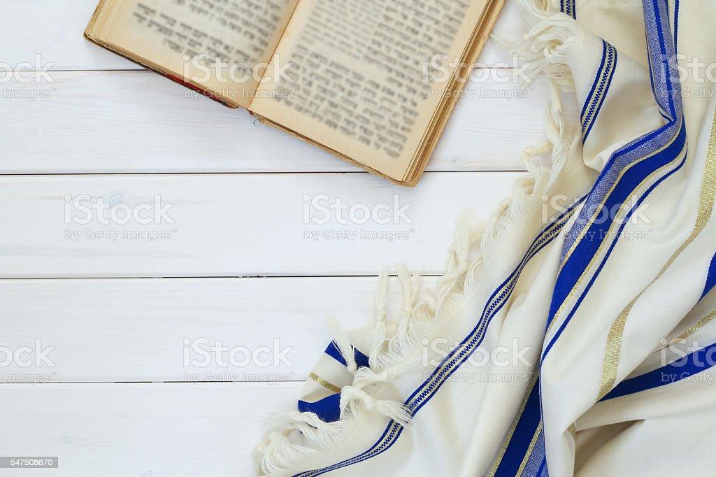 Prayer Shawl - Tallit, jewish religious symbol stock photo