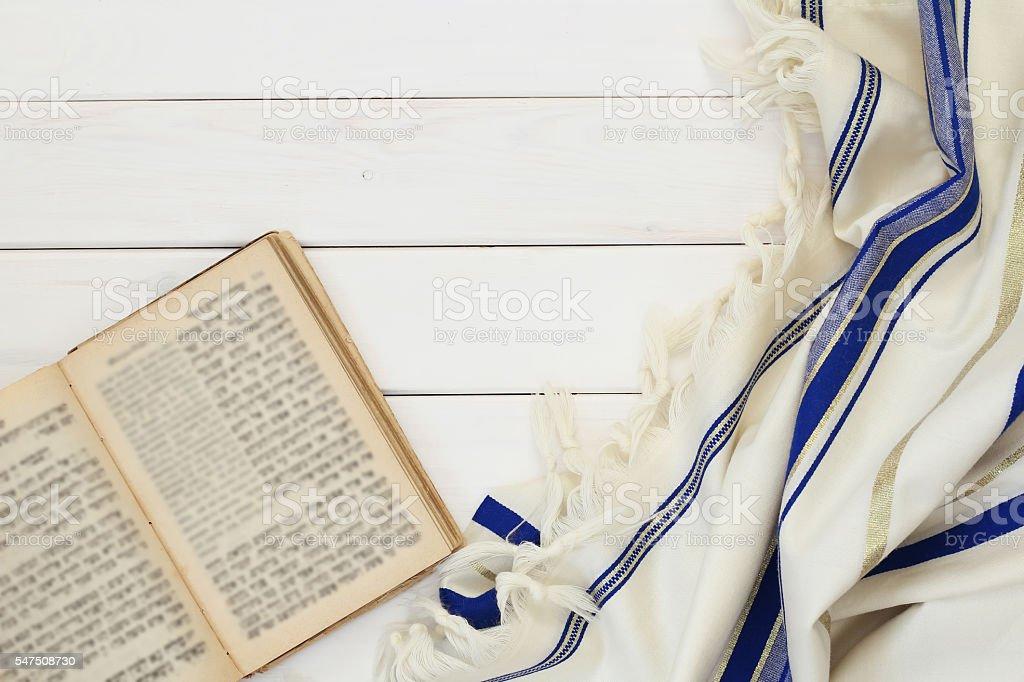 Prayer Shawl - Tallit, jewish religious symbol. stock photo
