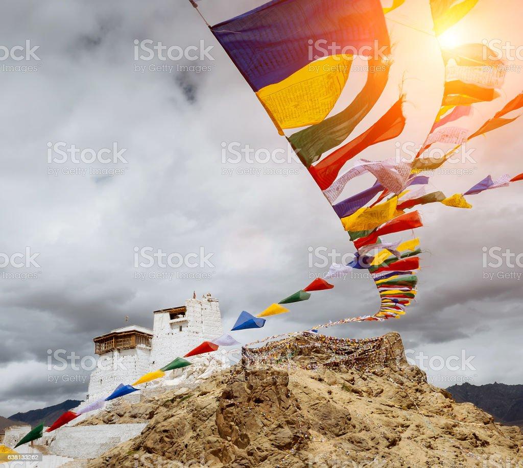Prayer tibetan flags near the Namgyal Tsemo Monastery stock photo