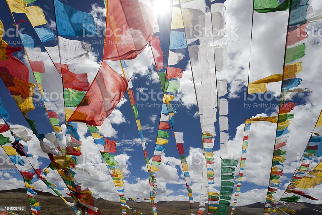 Prayer tibetan flags royalty-free stock photo