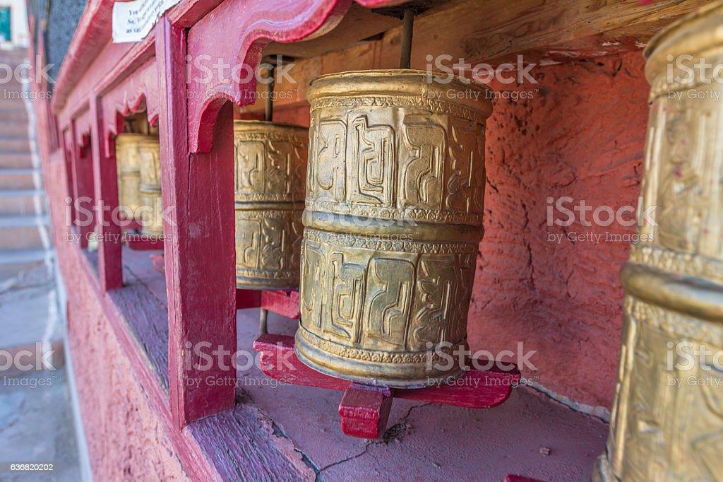 Prayer wheel in Himalayas stock photo