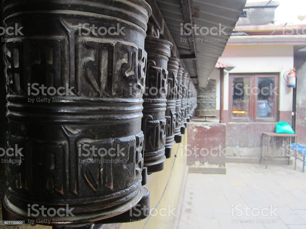 Prayer wheel in Nepal stock photo