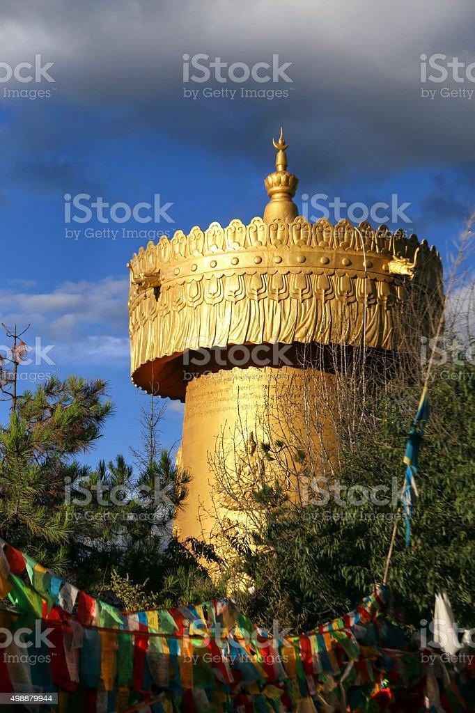 Prayer wheel in Shangri-La stock photo
