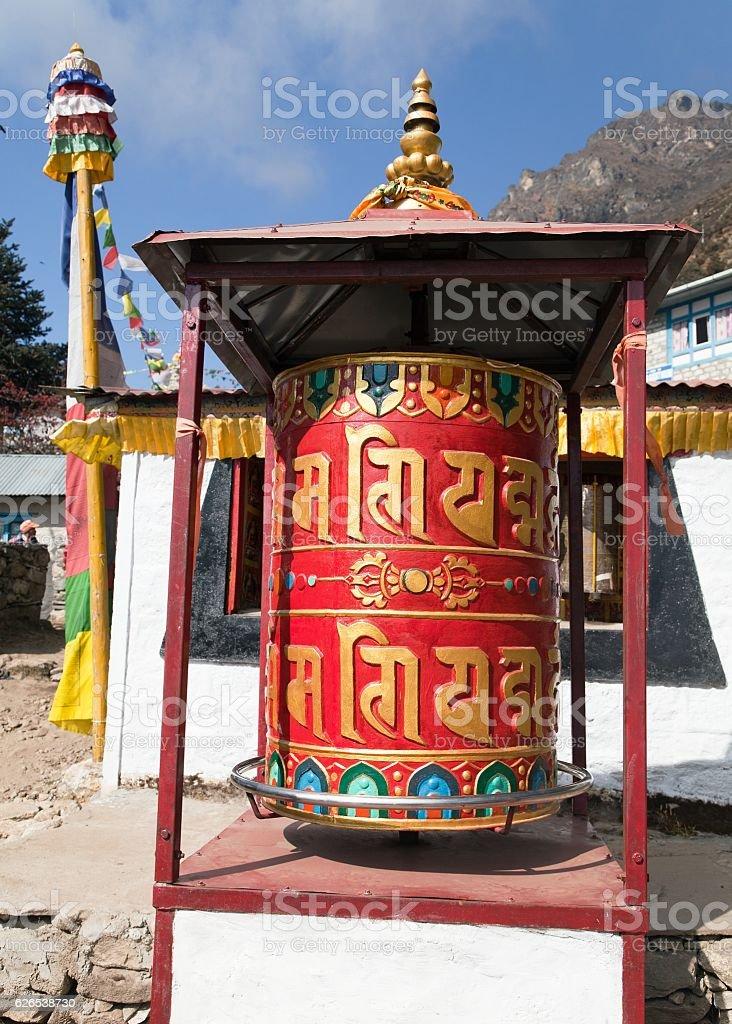 Prayer wheel in Tamo - monastery in Khumbu stock photo