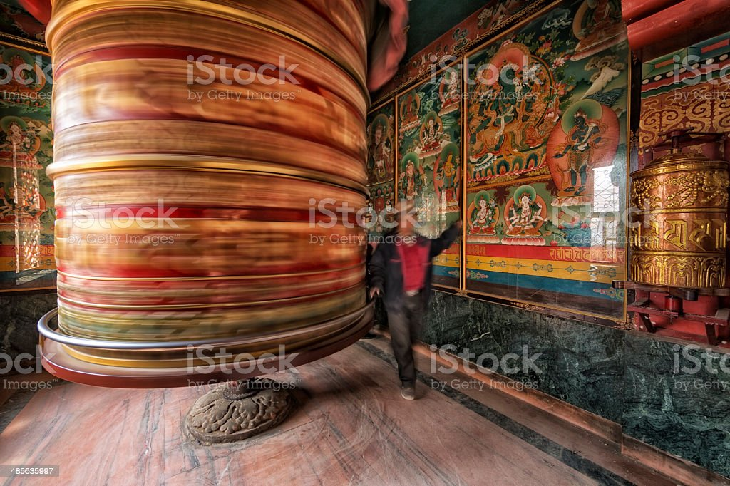 Prayer Wheel, Kathmandu, Nepal stock photo