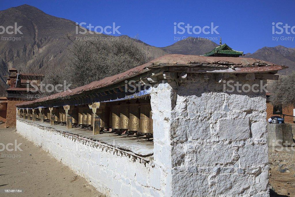 Prayer Wheel Wall Samye Tibet royalty-free stock photo