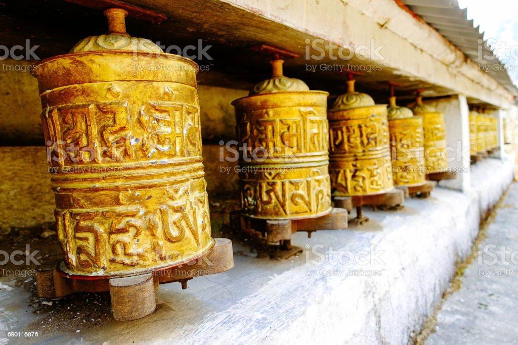Prayer wheels at Nepal. stock photo