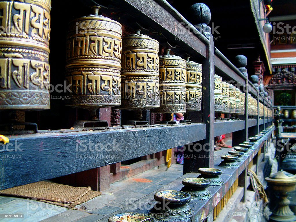 Prayer wheels, Hiranya Verna Mahavihar, Patan (Lalitpur), Nepal royalty-free stock photo