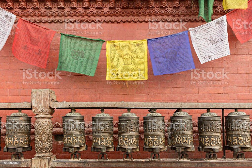 Prayer wheels in Kathmandu, Nepal stock photo