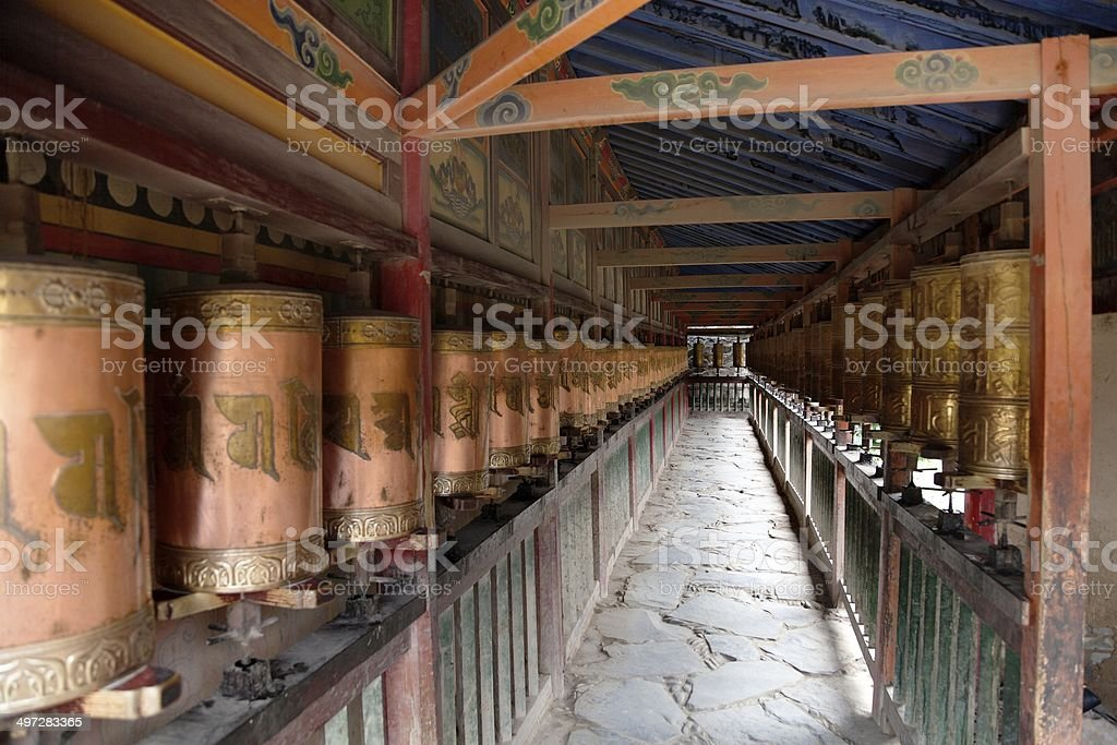 Prayer wheels in Labrang monastery - China stock photo