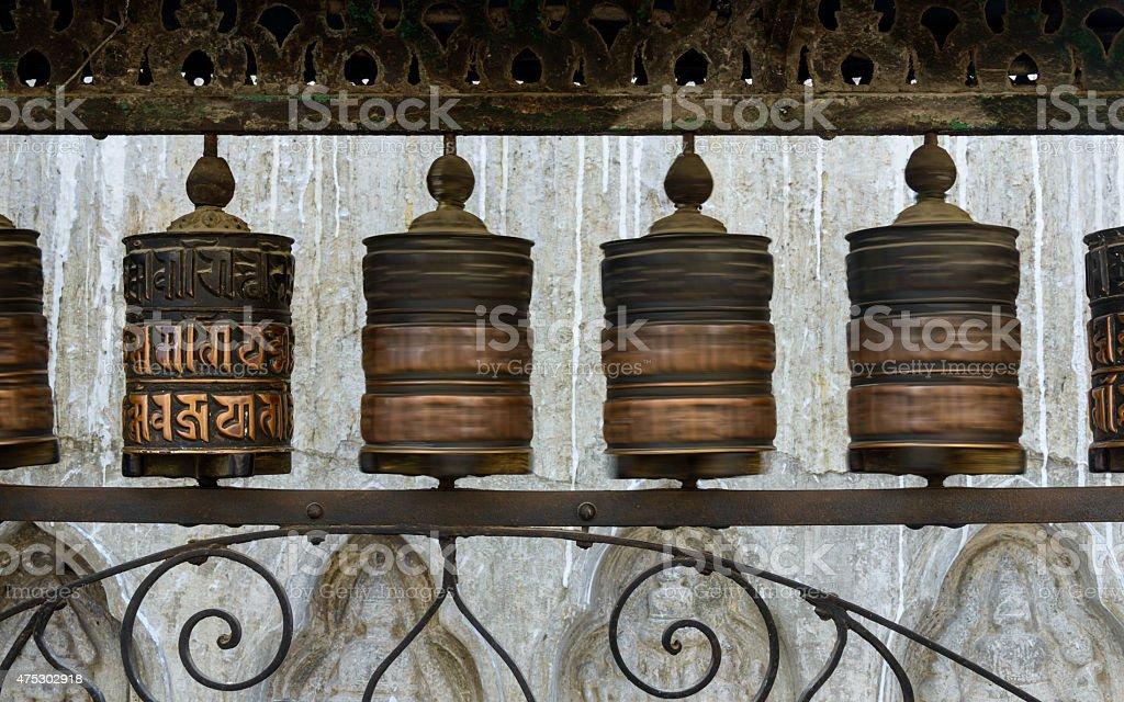 Prayer wheels in Nepal stock photo