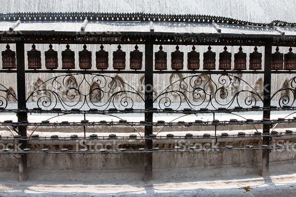 Prayer wheels in Swayambhunath (Kathmandu, Nepal) stock photo