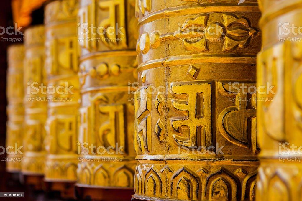 Prayer Wheels in the Monkey Temple (Swayambhunath) in Kathmandu, Nepal stock photo