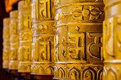 Prayer Wheels in the Monkey Temple (Swayambhunath) in Kathmandu, Nepal