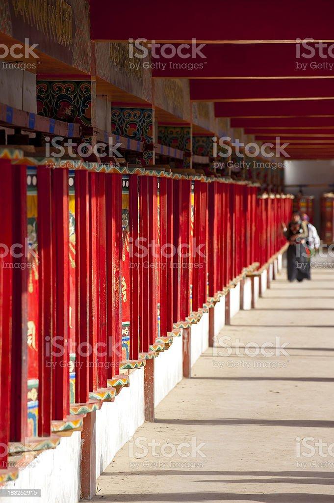prayer wheels in tibetan temple royalty-free stock photo