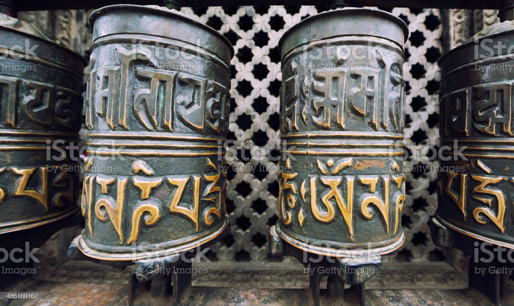 Prayer Wheels, Kathmandu, Nepal royalty-free stock photo