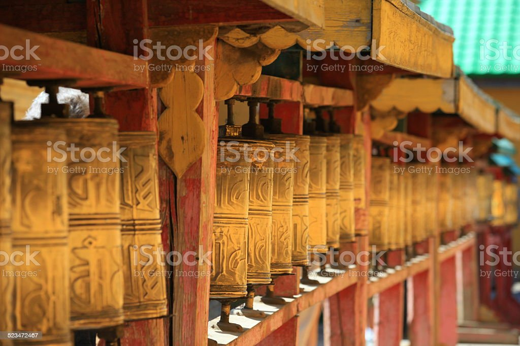 Prayer Wheels - Mongolia stock photo