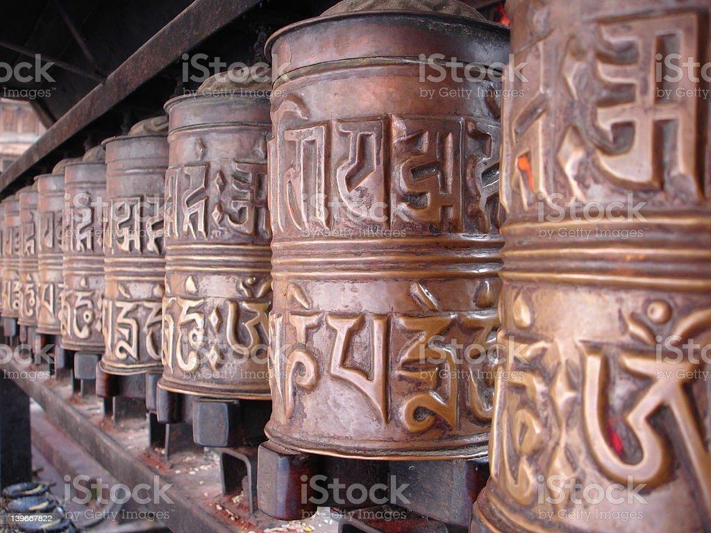 Prayer Wheels, Nepal royalty-free stock photo