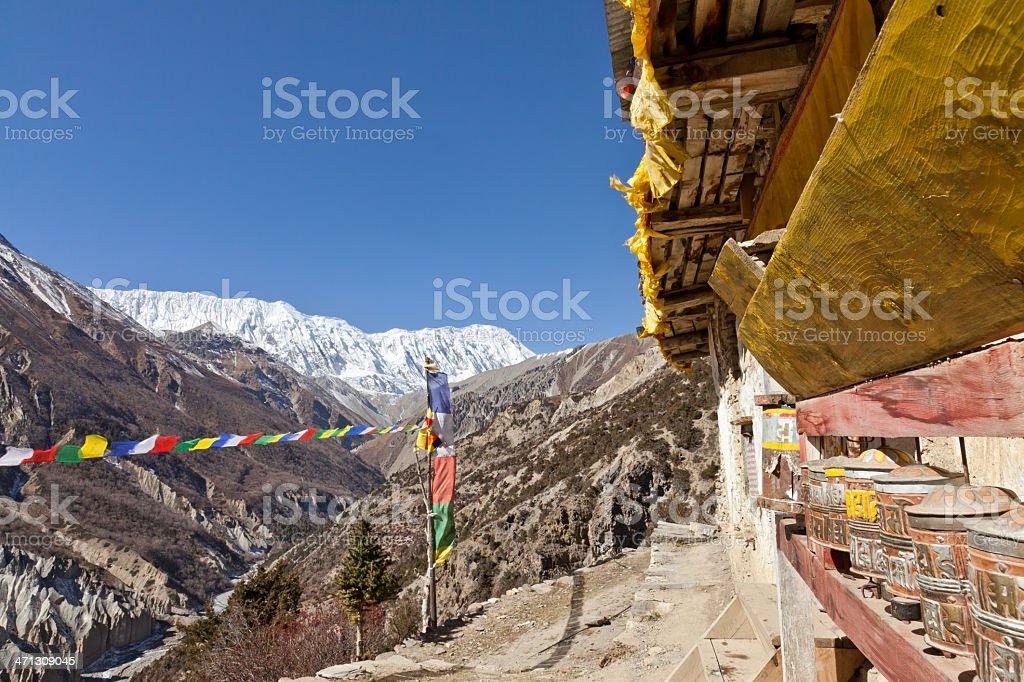 Prayer wheels of a monastery, nepal royalty-free stock photo
