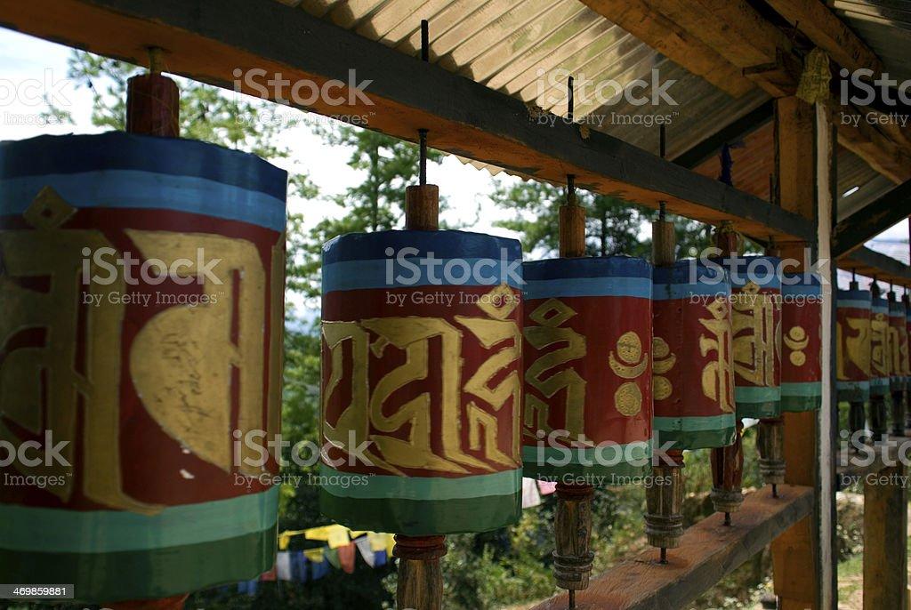 Prayer wheels, Taktshang Goemba, Bhutan stock photo