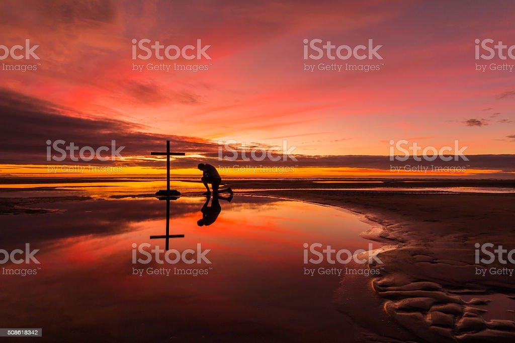 Prayerful Man stock photo