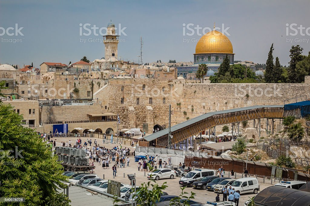 Prayers at the Western Wall and Dome of the Rock stock photo