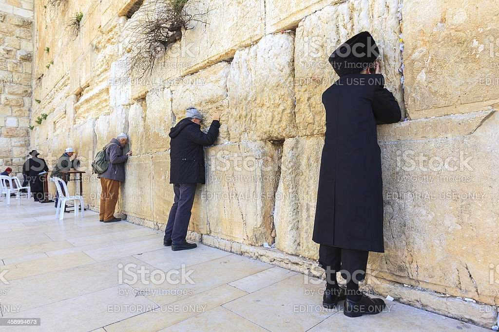 Prayers at the Western Wall in Jerusalem royalty-free stock photo