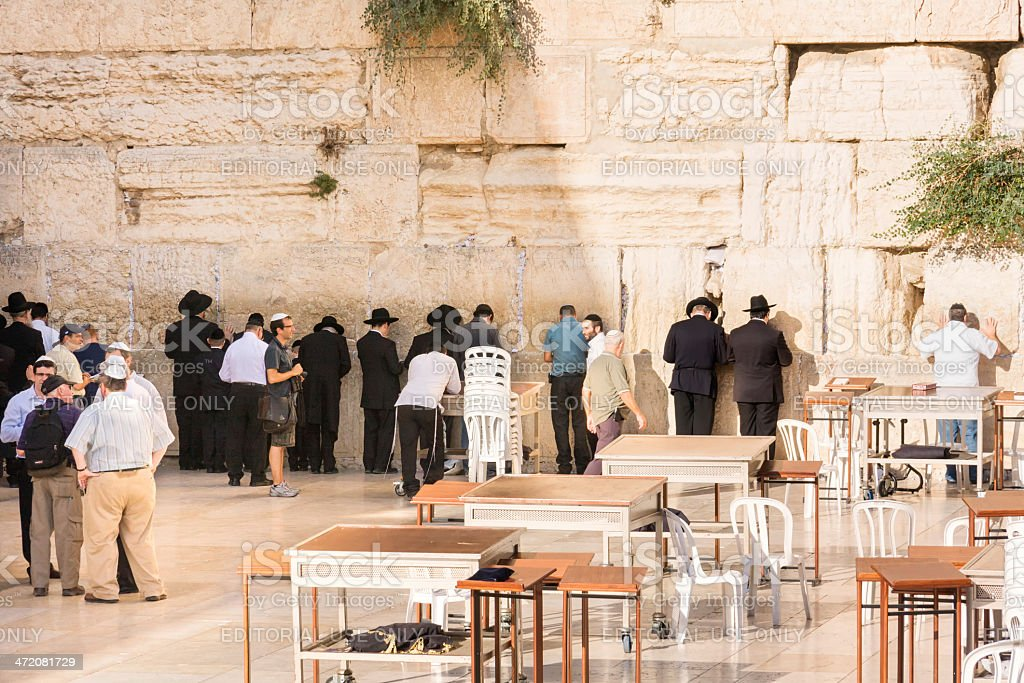 Prayers before Wailing Wall in Old City of Jerusalem royalty-free stock photo