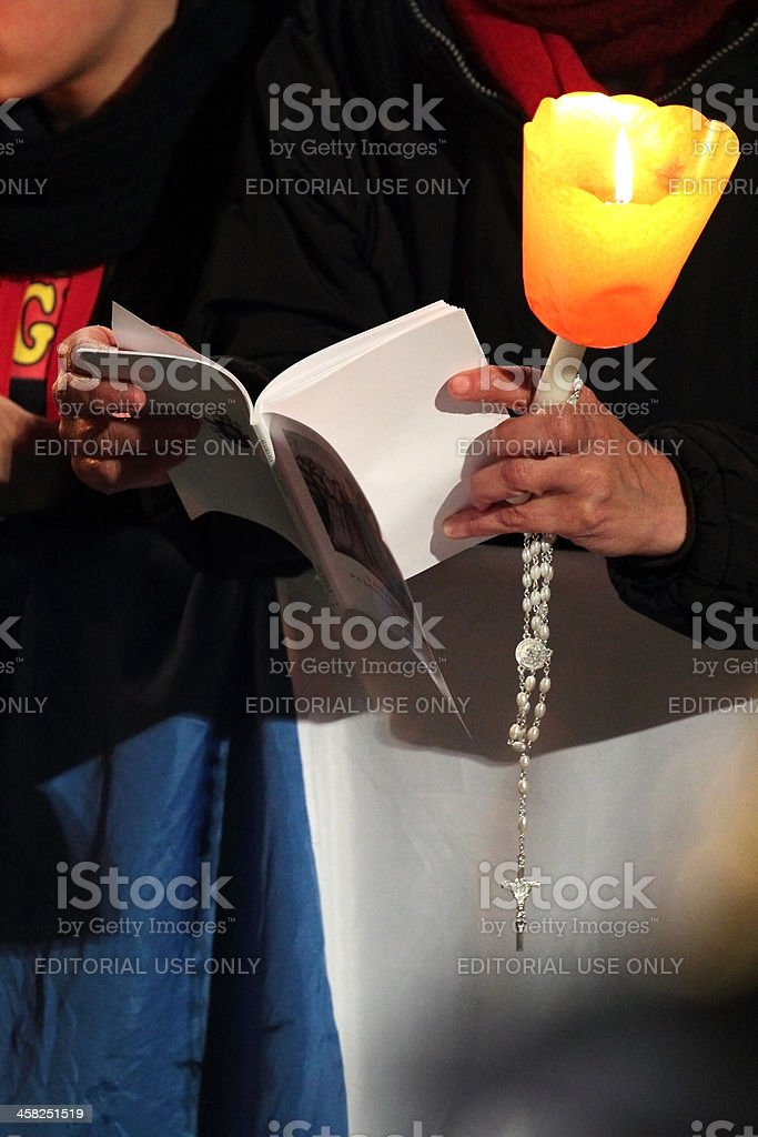 Prayers during Stations of the Cross with by Pope Francis stock photo