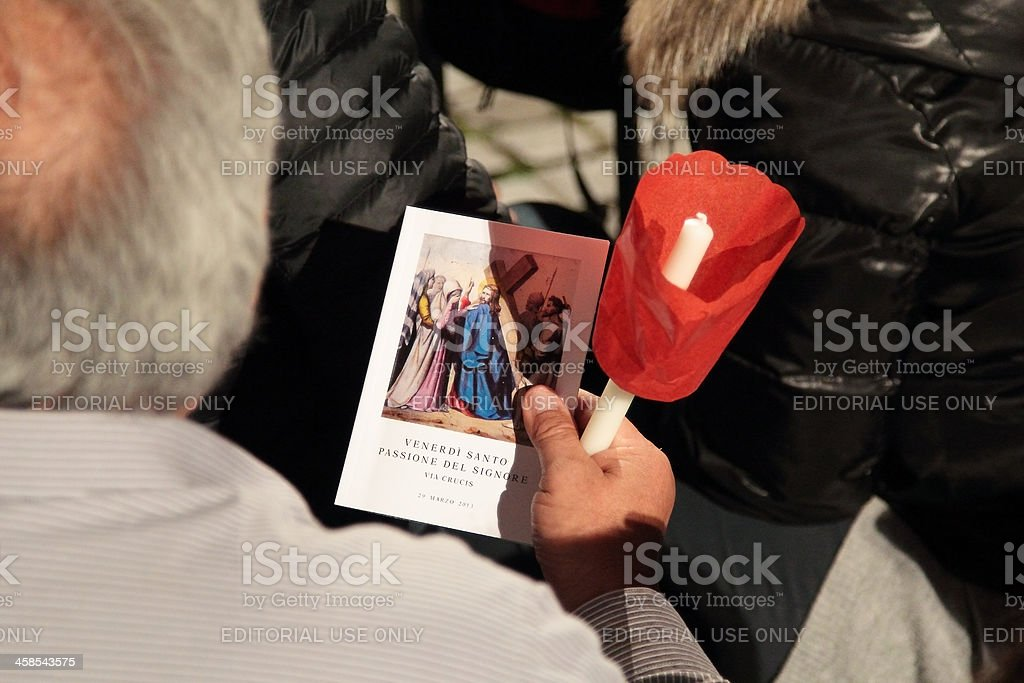 Prayers for Stations of the Cross chaired by Pope Francis royalty-free stock photo