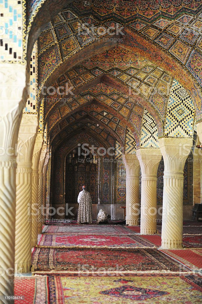 Prayers in Nasir al-Mulk Mosque stock photo