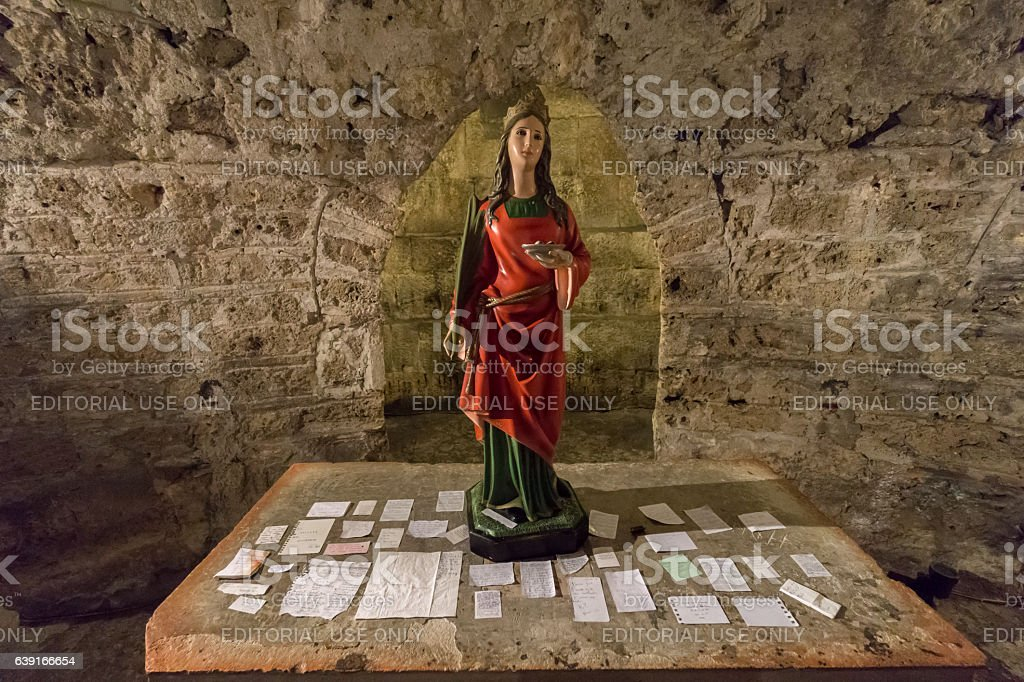 Prayers on Altar in St Lucy's Crypt stock photo